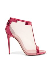 Casadei Metallic Patent Leather And Mesh Sandals Pink