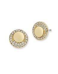Jenny Packham Goldtone Crescent Pave Disc Stud Earrings