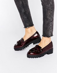 New Look Chunky Patent Tassel Loafer Red