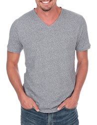 Lucky Brand Weekend Stretch Cotton V Neck Tee Grey