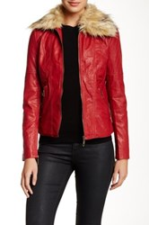 Coalition La Faux Fur Collar Vegan Leather Jacket Red