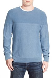 1901 Trim Fit Washed Textured Crewneck Sweater Blue