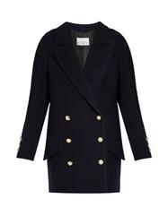 Raey Double Breasted Wool And Cashmere Blend Coat Navy