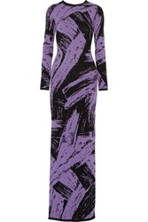Sibling Wool Jacquard Maxi Dress Purple