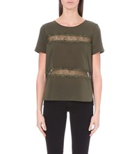French Connection Polly Plains Lace Detail Jersey Top Khaki
