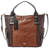 Fossil Emerson Leather Satchel Brown Mix