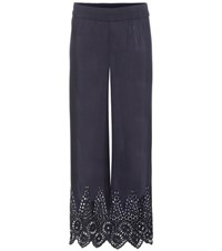 Ganni Yoko Lace Trimmed Trousers Blue