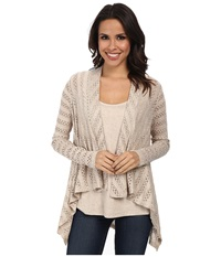 Miraclebody Jeans Megan Mitered Twin Set W Body Shaping Inner Shell Linen Women's Sweater Beige