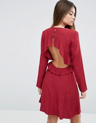 Asos Ruffle Tea Dress With Open Back Red