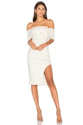 Lavish Alice Deep Bandeau Asymmetric Hem Midi Dress White
