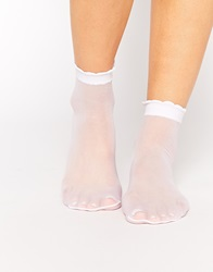 Asos Sheer Ankle Socks With Scallop Top White