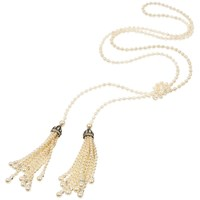 Ben Amun Belle Epoque Pearl Lariat Necklace Silver