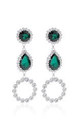 Alessandra Rich Three Drop Hoop Emerald Crystal Earrings Green