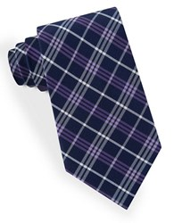 Lord And Taylor Plaid Striped Tie Purple