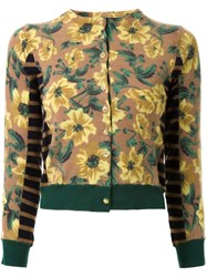 Muveil Floral Print Knitted Cardigan Multicolour