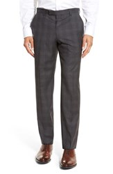 Boss Men's 'Leenon' Flat Front Plaid Wool Trousers Dark Grey