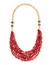 Long Multi Strand Coral Necklace Red Devon Leigh