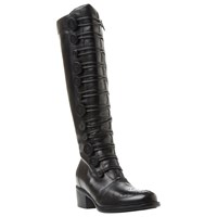 Dune Pixie D Button Detail Knee High Boots Black Leather