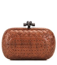 Bottega Veneta Knot Snakeskin Clutch Brown