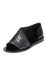 Vince Tabitha Asymmetric Leather Flat Black