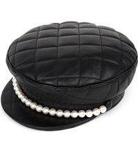 Moschino Faux Pearl And Quilted Leather Hat A7555