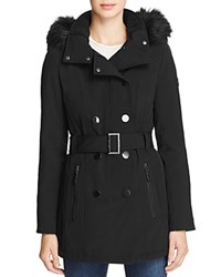Calvin Klein Belted Faux Fur Trim Hooded Trench Coat Black