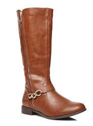 Evans Tan Gold Zip And Chain Riding Boots Brown