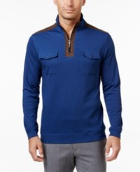 Tasso Elba Men's Quarter Zip Faux Suede Trimmed Sweater Only At Macy's Navy