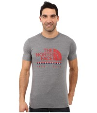 The North Face Short Sleeve Usa Tri Blend Tee Tnf Medium Grey Heather Men's Clothing Gray