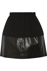 Vince Leather Paneled Crepe Mini Skirt Black