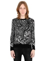 Saint Laurent Mohair Blend Jacquard Knit Sweater