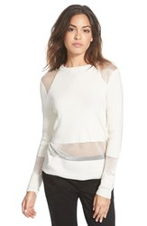 Junior Women's Rvca 'Take A Hint' Sheer Panel Sweater