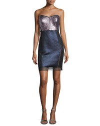 Phoebe Couture Strapless Sweetheart Metallic Colorblock Dress Women's