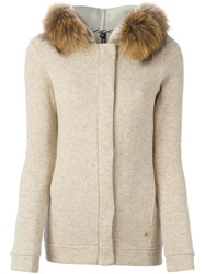 Woolrich Raccoon Fur Trim Cardigan Nude And Neutrals