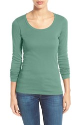 Caslonr Women's Caslon 'Melody' Long Sleeve Scoop Neck Tee Green Feldspar