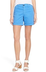 Women's Nydj 'Avery' Roll Cuff Stretch Twill Shorts Regatta Blue