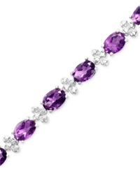 Macy's Sterling Silver Bracelet Amethyst 11 Ct. T.W. And Diamond Accent