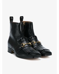 Gucci Leather Tassel Boots With Horsebit Black