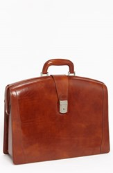 Men's Bosca Triple Compartment Leather Briefcase Brown Amber