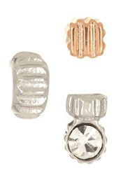Fossil Textured Stud Earrings Set Of 3 Metallic