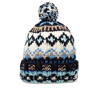 Chamula Double Cuff Fair Isle Beanie Navy Heather