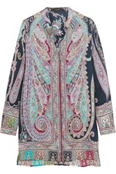 Etro Paisley Print Silk Tunic Purple