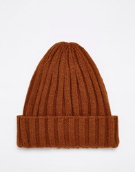 Asos Mountain Ribbed Beanie In Tobacco Tobacco Brown