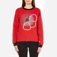 Kenzo Women's Quilted Sweatshirt With Athletic Side Stripe And Tenamie Flower Red