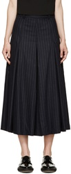 Each X Other Navy Pinstripe Pleated Culotte