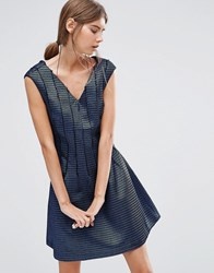 See U Soon Skater Dress With Mesh Overlay Blue