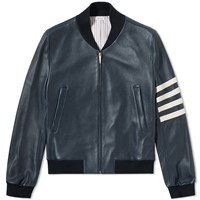 Thom Browne Arm Stripe Varsity Jacket Blue