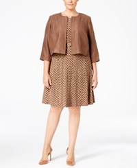 Jessica Howard Plus Size Belted A Line Dress And Faux Suede Jacket Medium Brown