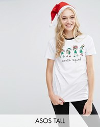Asos Tall Christmas T Shirt With Santa Squad Print White
