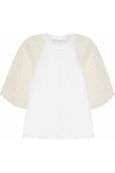 Chloe Cotton Jersey And Crocheted Lace Top